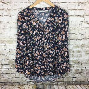 LC Lauren Conrad navy floral long sleeve blouse